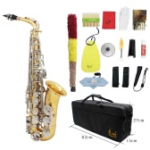 LADE Alto Saxophone Sax Glossy Brass Engraved Eb E-Flat Natural White Shell Button Wind Instrument with Case Mute Gloves Cleaning Cloth Grease Belt Brush