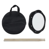 10-Inch Drum Practice Pad with Drumsticks Carrying Bag for Training