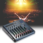 8 Channel 3-Bands Equalizer Digital Mic Line Audio LED Mixer Mixing Console with 48V Phantom Power USB MP3 Player for Recording DJ Stage Karaoke Music Appreciation