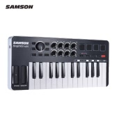 SAMSON Graphite M25 Ultra-Portable Mini 25-Key USB MIDI Keyboard Controller with USB Cable (4 Pads/ 8 Assignable Knobs)