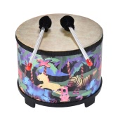 10 Inch Wooden Floor Drum Gathering Club Carnival Percussion Instrument with 2 Mallets for Kids Children