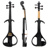 "4/4 Full Size Electric Violin Fiddle Maple Wood Stringed Instrument Ebony Fretboard Chin Rest with 1/4"" Connecting Cable Earphone Case for Student Music Lover Beginner"