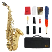 LADE Brass Golden Carve Pattern Bb Bend Althorn Soprano Saxophone Sax Pearl White Shell Buttons Wind Instrument with Case Gloves Cleaning Cloth Grease Belt Brush