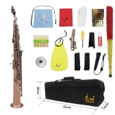 LADE WSS-899 Professional Red Bronze Straight Bb Soprano Saxophone Sax Woodwing Instrument Abalone Shell Key  Carve Pattern with Case Gloves Cleaning Cloth Straps Grease Brush