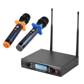 Professional Digital UHF Wireless Handheld Microphone Mic System Dual Channels LCD Display Receiver 2 Microphones for Stage Karaoke Meeting Party