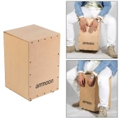 ammoon Wooden Drum Box Cajon Hand Drum Persussion Instrument with Stings Rubber Feet 30 * 31 * 48cm