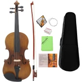 4/4 Full Size Violin Fiddle Solid Wood Matte Finish Spruce Face Board Ebony Fretboard 4-String Instrument with Hard Case Bow Rosin Clean Cloth