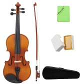 Full Size 4/4 Natural Acoustic Solid Wood Spruce Flame Maple Veneer Violin Fiddle for Beginner Student Performer with Case Rosin Wiper Christmas Gift Present