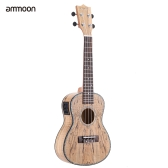 "ammoon 24"" Deadwood(Rare Material)Ukulele Hawaii Guitar with LED EQ Cowry Shell Brims OX Bone Saddle 4 Strings Instrument Gift Present"