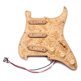 Loaded Prewired Wooden Guitar Pickguard Maple Wood Plate SSS Pickups with Decorative Flower Pattern for Fender ST   Electric Guitars