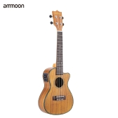 "ammoon 24"" Cutaway Ukulele Hawaii Guitar with LED EQ Koa Plywood Cowry Shell Brims OX Bone Saddle 4 Strings Instrument Gift Present"