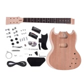 Unfinished DIY Electric Guitar Kit Mahogany Body Neck Rosewood Fingerboard
