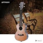 "ammoon 24"" Korean Pine Acoustic Concert Ukulele Ukelele Uke Wooden 18 Frets 4 Strings Okoume Neck Rosewood Fretboard String Instrument Musical Gift"