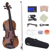 ammoon Full Size 4/4 Acoustic Electric Violin Fiddle Solid Wood Body Ebony Fingerboard Pegs Chin Rest Tailpiece with Bow Hard Case Tuner Shoulder Rest Rosin Extra Strings & Bridge White Color