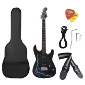 Dual Dual Pickups Electric Guitar Basswood Body Rosewood Fingerboard Cool Lightning Design with Gig Bag Picks Strap for Beginner
