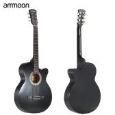 "ammoon 38"" 6-String Cutaway Folk Acoustic Guitar with Bag Strap String Tuner Pick for Beginners Music Lovers Students"