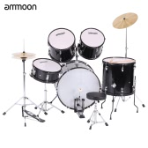 ammoon 5-Piece Complete Adult Drum Set Drums Kit Percussion Musical Instrument with Cymbals Drumsticks Stands Adjustable Stool