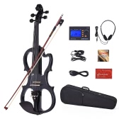 ammoon VE-201 Full Size 4/4 Solid Wood Silent Electric Violin Fiddle Maple Body Ebony Fingerboard Pegs Chin Rest Tailpiece with Bow Hard Case Tuner Headphones Rosin Audio Cable Extra Strings Black