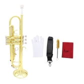 Trumpet Bb B Flat Brass Exquisite with Mouthpiece Cleaning Brush Cloth Gloves Strap