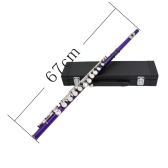 Western Concert Flute Cupronickel Plated Silver 16 Holes C Key Woodwind Instrument with Cork Grease Cleaning Cloth Stick Gloves Mini Screwdriver Padded Case