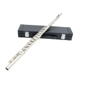 estern Concert Flute Cupronickel Plated Silver 16 Holes C Key Woodwind Instrument with Cork Grease Cleaning Cloth Stick Gloves Mini Screwdriver Padded Case