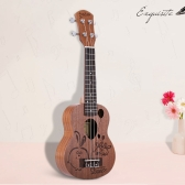 "21"" Mini Sapele Ukelele Rosewood Fingerboard Mahogany Neck Nylon String Matte Kids Gift"