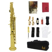 LADE Soprano Saxophone SAX Bb Brass Lacquered Gold Body and Keys with Lubricating Cork Grease
