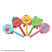 Colorful Cute Wooden Hand Shaking Drum Rattle Sound Musical Instrument Toy Gift for Baby Kid Child