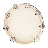 "10"" Hand Held Tambourine Drum Bell Birch Metal Jingles Percussion Musical Educational Toy Instrument for KTV Party Kids Games"