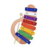 Wood Pine Xylophone 8-Note 3mm Colorful Aluminum Plate with Handle Wooden Mallet Stick Exquisite Percussion Toddle Kid Musical Toy