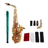 Saxophone Sax Eb E Flat Brass Carved Pattern on Surface Plastic Mouthpiece Exquisite with Gloves Cleaning Cloth Brush Straps