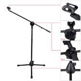 Boom Stage Stand for Microphone Floor-type Microphone Mic Stand W/ Two Clips