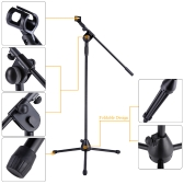 180 °Telescoping Adjustable Floor-type Microphone Tripod Boom Stage Stand with Mic Holder Clip