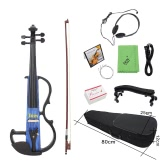 """Full Size 4/4 Electric Violin Fiddle Maple Wood Stringed Instrument Ebony Fretboard Chin Rest with 1/4"""" Connecting Cable Earphone Case for Music   Lovers Beginners"""