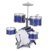 Compact Size Drum Set Children Kids Musical Instrument Toy 5 Drums with Small Cymbal Stool Drum Sticks for Boys Girls