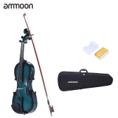 ammoon 4/4 Full Size Basswood Violin Maple Scroll Fingerboard Pegs Aluminum Alloy Tailpiece with High Quality Rosin Bow Violin Case Gradient Color