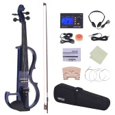 ammoon Full Size 4/4 Solid Wood Electric Silent Violin Fiddle Style-2 Ebony Fingerboard Pegs Chin Rest Tailpiece with Bow Hard Case Tuner Headphones Rosin Extra Strings & Bridge
