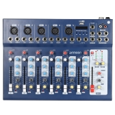 ammoon F7-USB 7-Channel Digtal Mic Line Audio Sound Mixer Mixing Console with USB Input 48V Phantom Power 3 Bands Equalizer for Recording DJ Stage Karaoke Music Appreciation