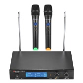 L&Y LY-8103L Dual Channel VHF Wireless Microphone System with 2 Handheld Microphones LCD Display Receiver 6.35mm Audio Cable Power Adapter