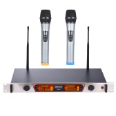 Dual-Channel Handheld Wireless UHF Microphone Mic System Including 2 Microphones 1 Receiver with LCD Display 6.35mm Audio Cable Power Adapter for Karaoke Meeting Party
