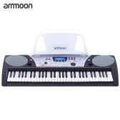 ammoon SNK-1600 61 Keys Multifunctional Electronic Keyboard Electric Organ LCD Display USB MIDI Interfaces Pitch Bend Wheel with Sheet Music Holder Power Adapter