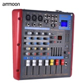 ammoon Bluetooth 4-Channel Mono Stereo Digital Mic Line Audio Mixer Mixing Console 2-band EQ with 48V Phantom Power USB Interface