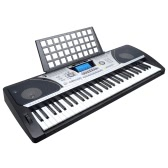Meike MK-931 Dual-Keyboard Teaching-Type 61 Keys Electronic Electric Keyboard Piano Organ with Touch Response Function LCD Display Screen & Music Sheet Holder