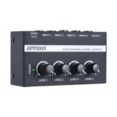 ammoon MX400 Ultra-compact Low Noise 4 Channels Line Mono Audio Mixer with Power Adapter