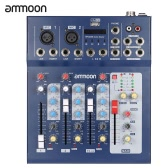 ammoon F4-USB 3 Channel Digital Mic Line Audio Mixing Mixer Console with 48V Phantom Power for Recording DJ Stage Karaoke Music Appreciation