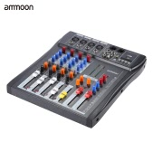 ammoon 40S-USB 4 Channels MIC LINE Mixer Mixing Console 3-band EQ USB XLR Input 48V Phantom Power with Power Adapter