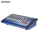ammoon 10 Channels Powered Mixer Amplifier Digital Audio Mixing Console Amp with 48V Phantom Power USB/ SD Slot for Recording DJ Stage Karaoke