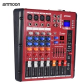 ammoon Digital Bluetooth 4-Channel Mic Line Audio Mixer Mixing Console 2-band EQ with 48V Phantom Power USB Interface for Recording DJ Stage Karaoke Music Appreciation