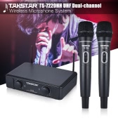 TAKSTAR TS-7220HH UHF Dual-channel Wireless Microphone Mic System 2 Handheld Microphones 1 Receiver with 6.35mm Audio Cable Power Adapter for Speech Karaoke Meeting Party