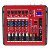 ammoon PMR406 4-Channel Digital Audio Mixer Mixing Console with Power Amplifier Function 48V Phantom Power USB Interface for Recording DJ Stage Karaoke